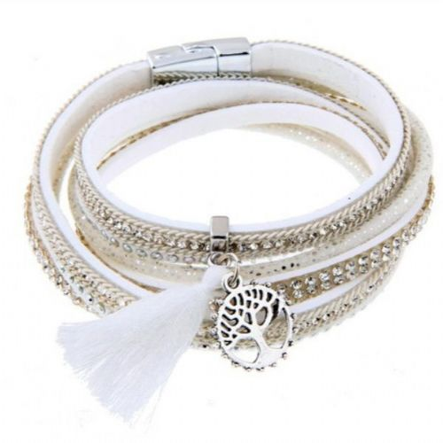 Sparkle magnetic Suede Tree of Life Bracelet in White